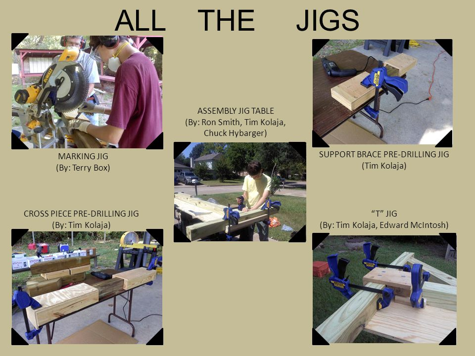 ALL THE JIGS MARKING JIG (By: Terry Box) ASSEMBLY JIG TABLE (By: Ron Smith, Tim Kolaja, Chuck Hybarger) CROSS PIECE PRE-DRILLING JIG (By: Tim Kolaja) SUPPORT BRACE PRE-DRILLING JIG (Tim Kolaja) T JIG (By: Tim Kolaja, Edward McIntosh)