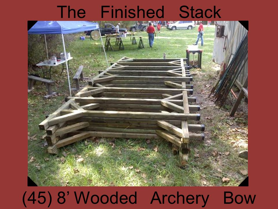 The Finished Stack (45) 8 Wooded Archery Bow Hangers