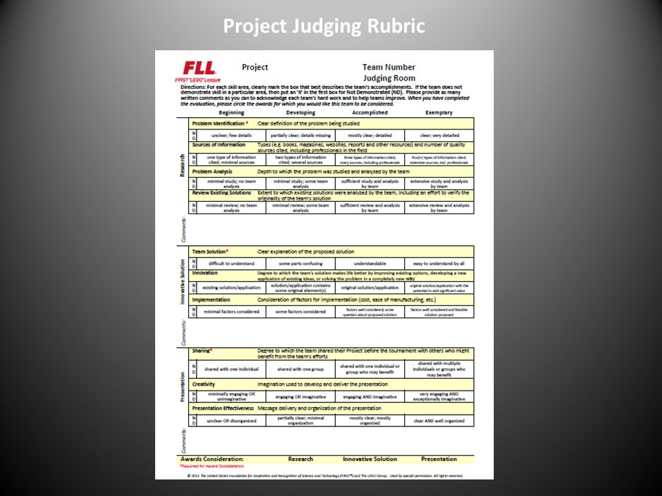Project Judging Rubric