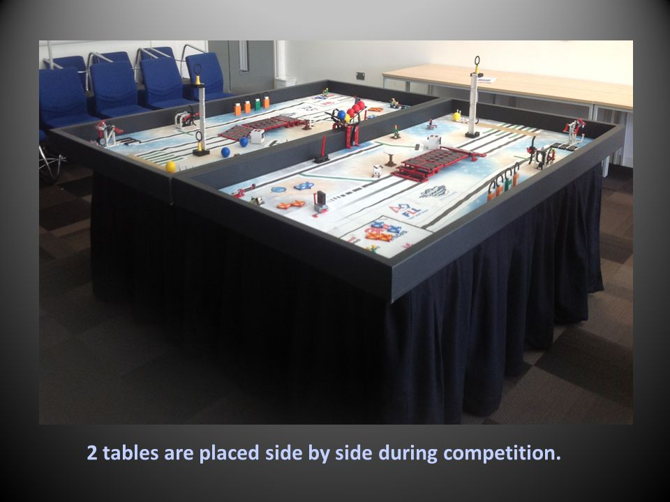 2 tables are placed side by side during competition.