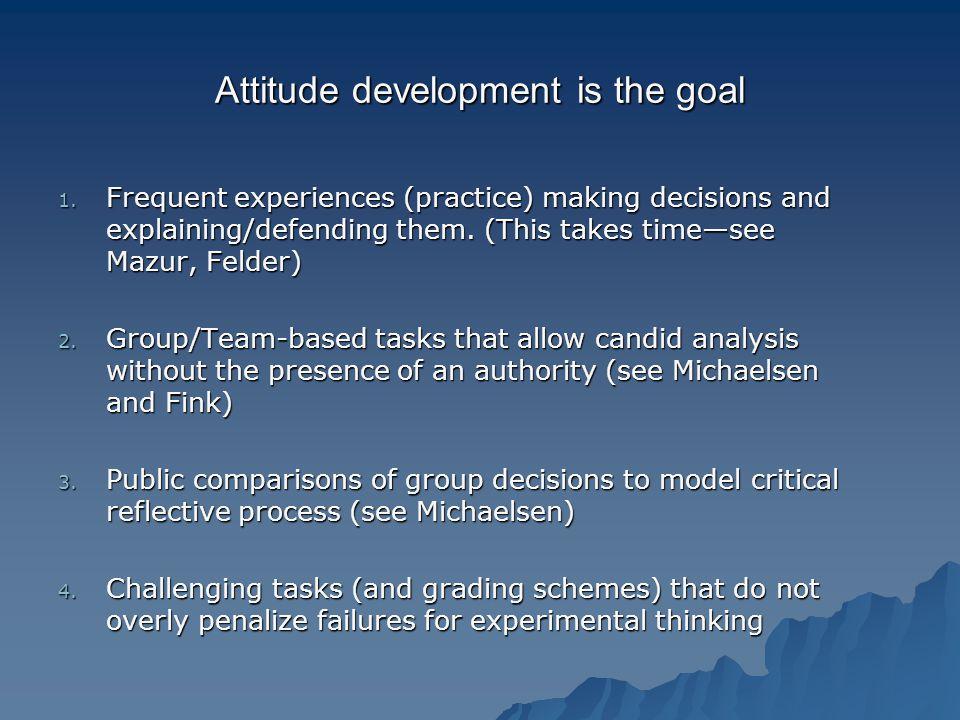 Attitude development is the goal 1.