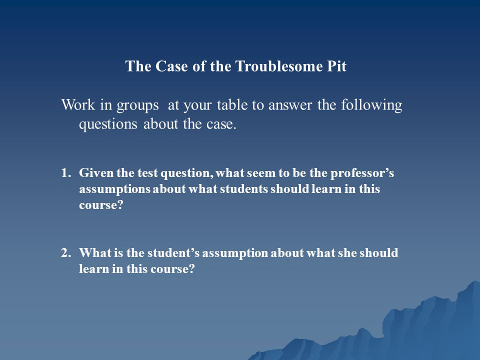 The Case of the Troublesome Pit Work in groups at your table to answer the following questions about the case.