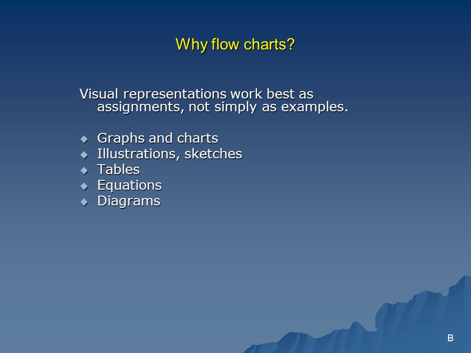 Why flow charts. Visual representations work best as assignments, not simply as examples.