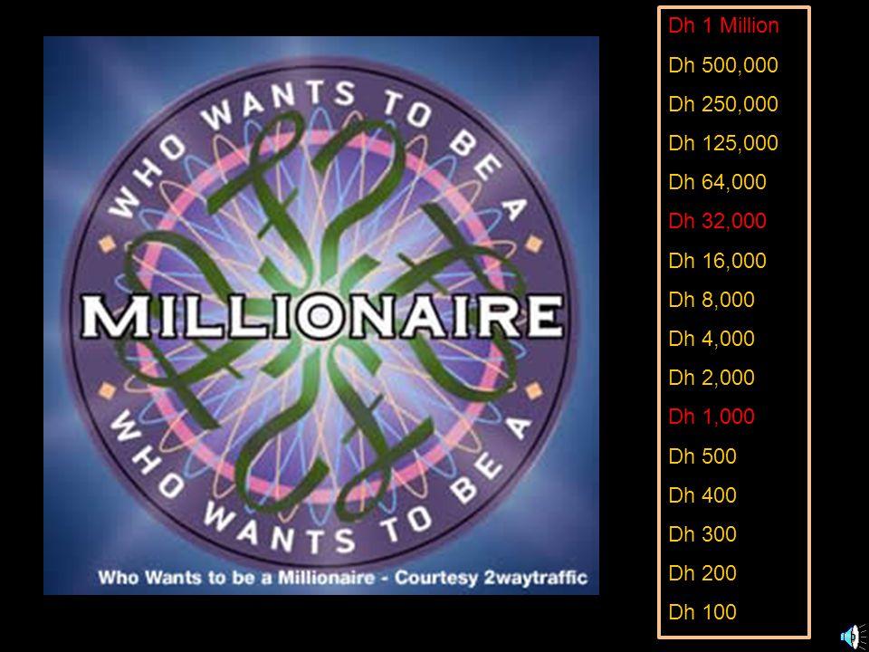 Dh 1 Million Dh 500,000 Dh 250,000 Dh 125,000 Dh 64,000 Dh 32,000 Dh 16,000 Dh 8,000 Dh 4,000 Dh 2,000 Dh 1,000 Dh 500 Dh 400 Dh 300 Dh 200 Dh 100