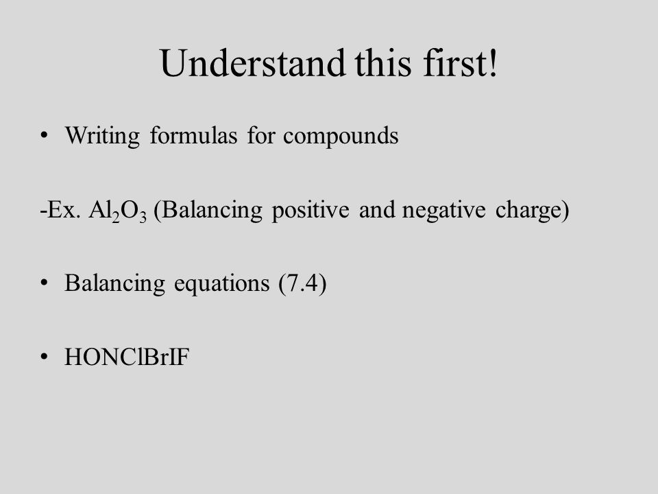 Understand this first. Writing formulas for compounds -Ex.