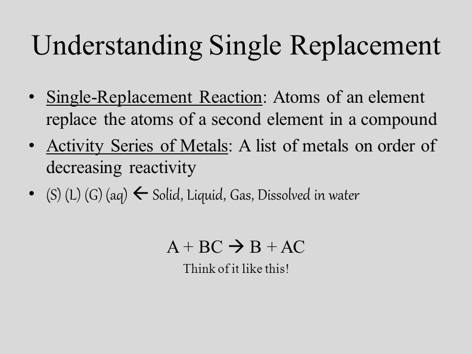 Understanding Single Replacement Single-Replacement Reaction: Atoms of an element replace the atoms of a second element in a compound Activity Series of Metals: A list of metals on order of decreasing reactivity (S) (L) (G) (aq) Solid, Liquid, Gas, Dissolved in water A + BC B + AC Think of it like this!