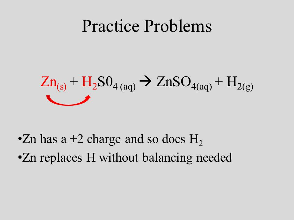 Practice Problems Zn (s) + H 2 S0 4 (aq) ZnSO 4(aq) + H 2(g) Zn has a +2 charge and so does H 2 Zn replaces H without balancing needed