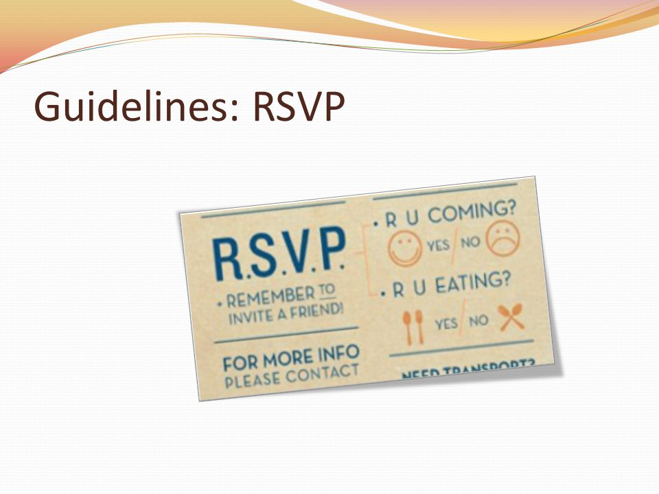 Guidelines: RSVP