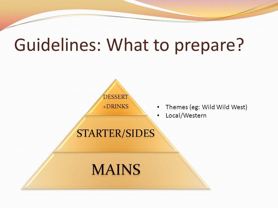 Guidelines: What to prepare? DESSERT +DRINKS STARTER/SIDES MAINS Themes (eg: Wild Wild West) Local/Western