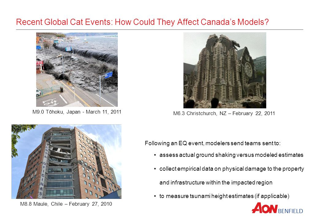 Recent Global Cat Events: How Could They Affect Canadas Models? M9.0 Tōhoku, Japan - March 11, 2011 M6.3 Christchurch, NZ – February 22, 2011 Followin