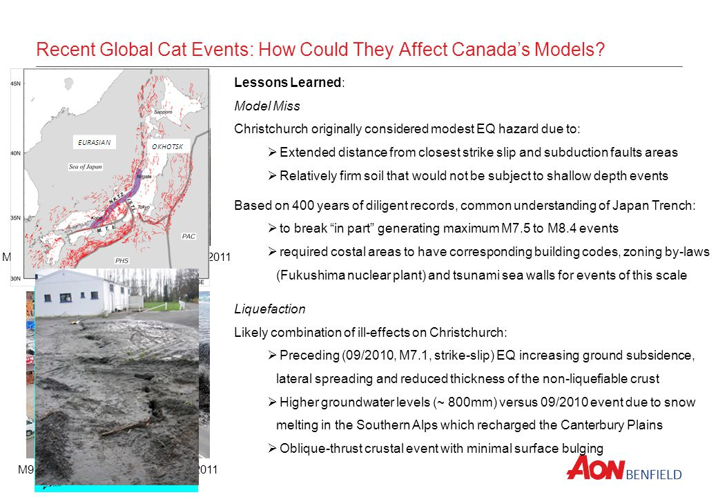 Recent Global Cat Events: How Could They Affect Canadas Models? M9.0 Tōhoku, Japan - March 11, 2011 M6.3 Christchurch, NZ – February 22, 2011 Lessons