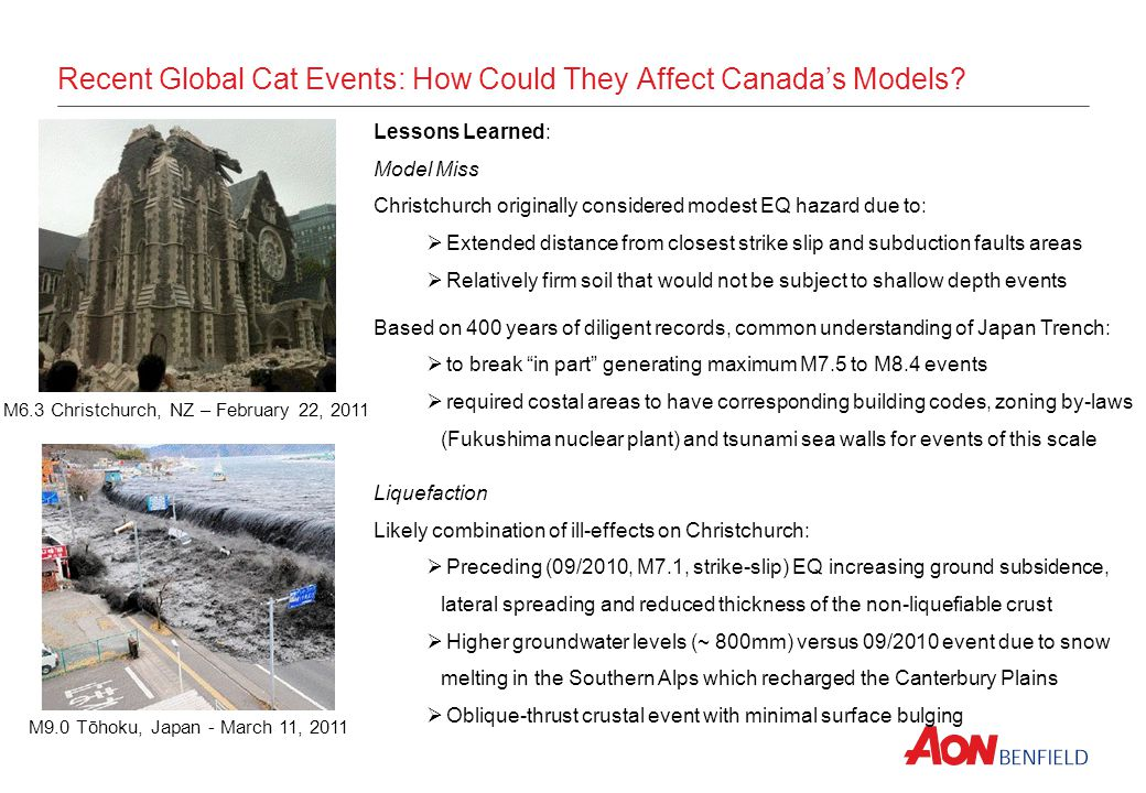 Recent Global Cat Events: How Could They Affect Canadas Models.