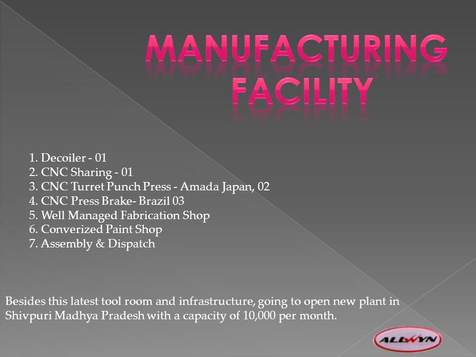 1. Decoiler - 01 2. CNC Sharing - 01 3. CNC Turret Punch Press - Amada Japan, 02 4.