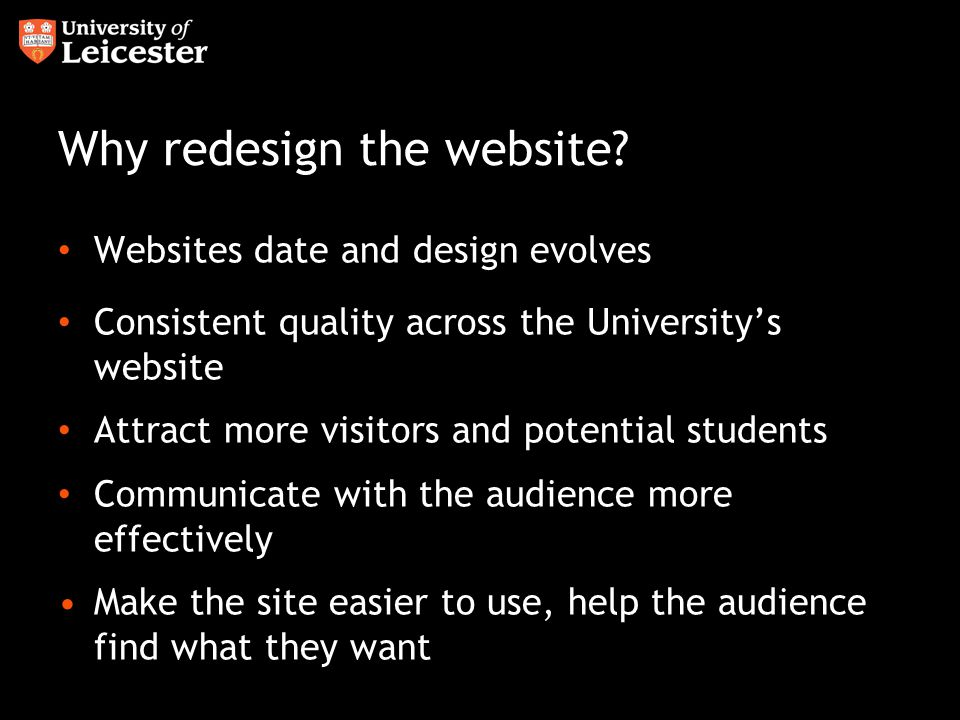 Why redesign the website.