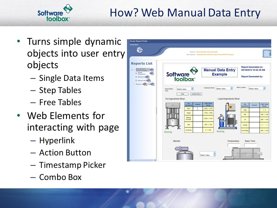 How? Web Manual Data Entry Turns simple dynamic objects into user entry objects – Single Data Items – Step Tables – Free Tables Web Elements for inter