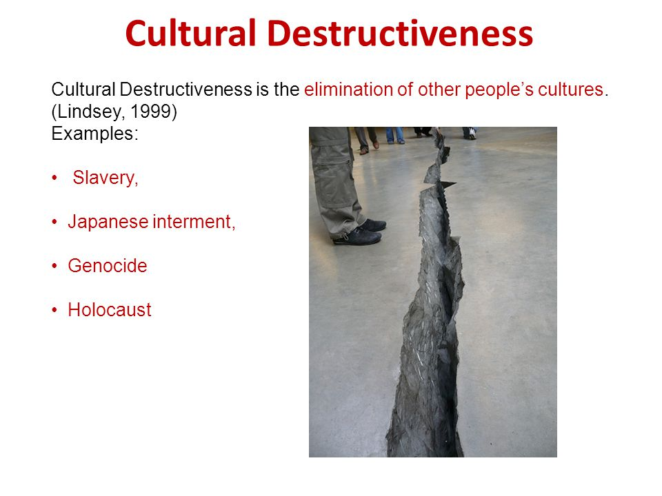 Cultural Destructiveness Cultural Destructiveness is the elimination of other peoples cultures.