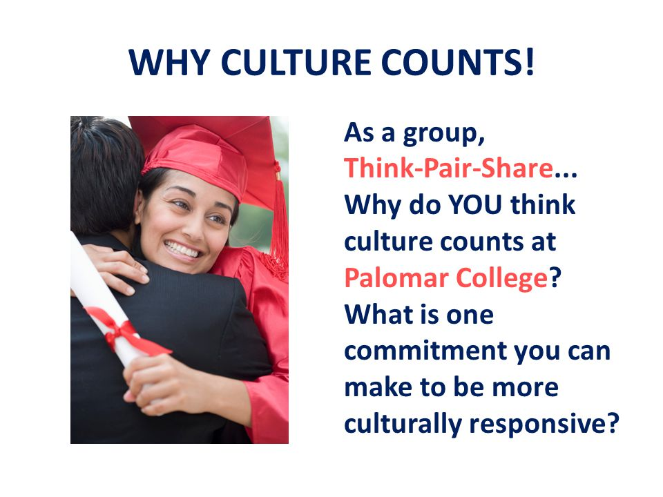 WHY CULTURE COUNTS. As a group, Think-Pair-Share...