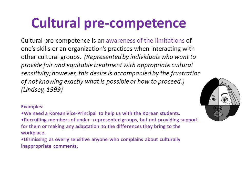 Cultural pre-competence is an awareness of the limitations of ones skills or an organizations practices when interacting with other cultural groups.