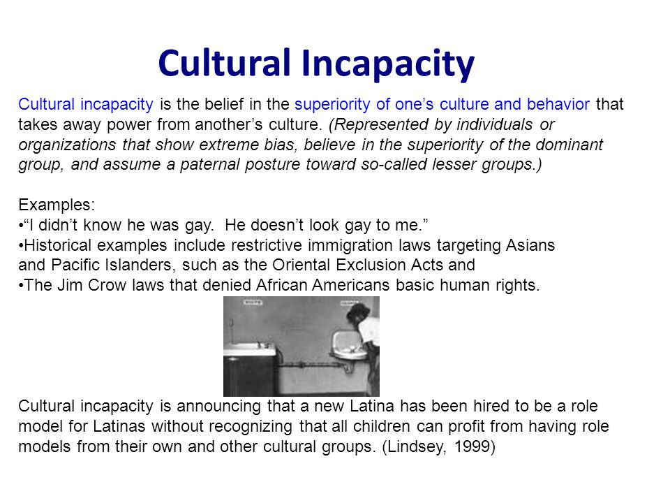 Cultural Incapacity Cultural incapacity is the belief in the superiority of ones culture and behavior that takes away power from anothers culture.