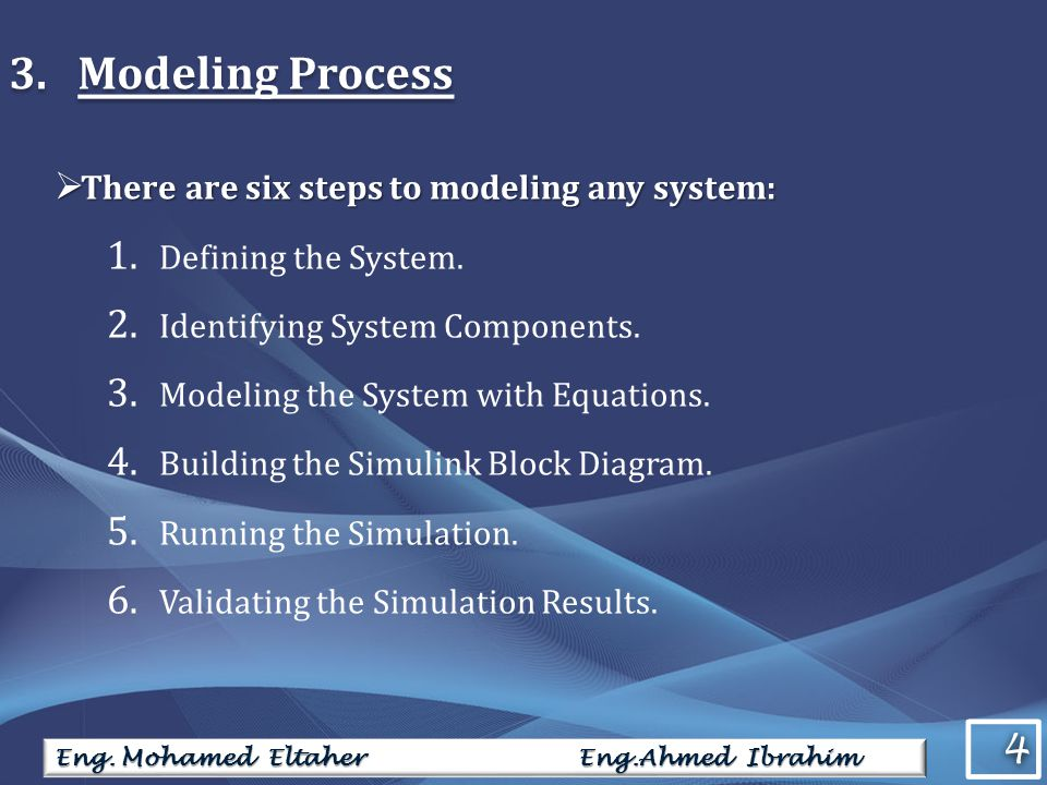 4 4 Eng. Mohamed Eltaher Eng.Ahmed Ibrahim 3. Modeling Process There are six steps to modeling any system: There are six steps to modeling any system: