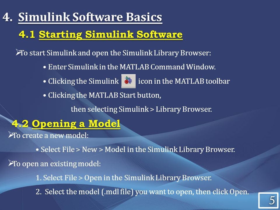 5 5 4.Simulink Software Basics To start Simulink and open the Simulink Library Browser: Enter Simulink in the MATLAB Command Window.