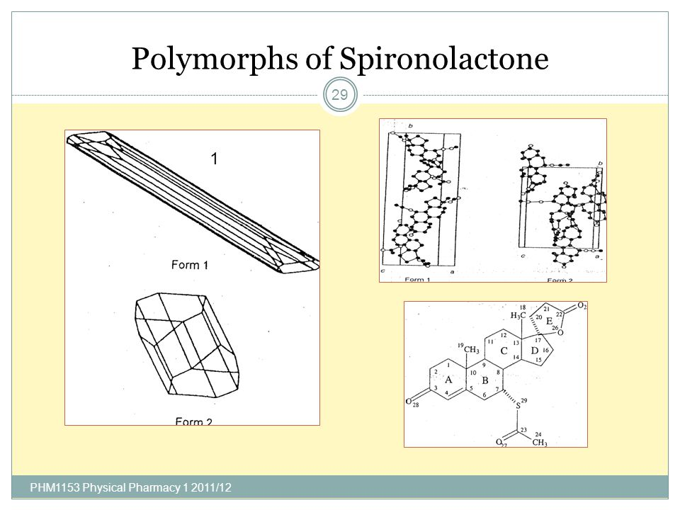 Properties of Spironolactone Polymorphs PHM1153 Physical Pharmacy 1 2011/12 30
