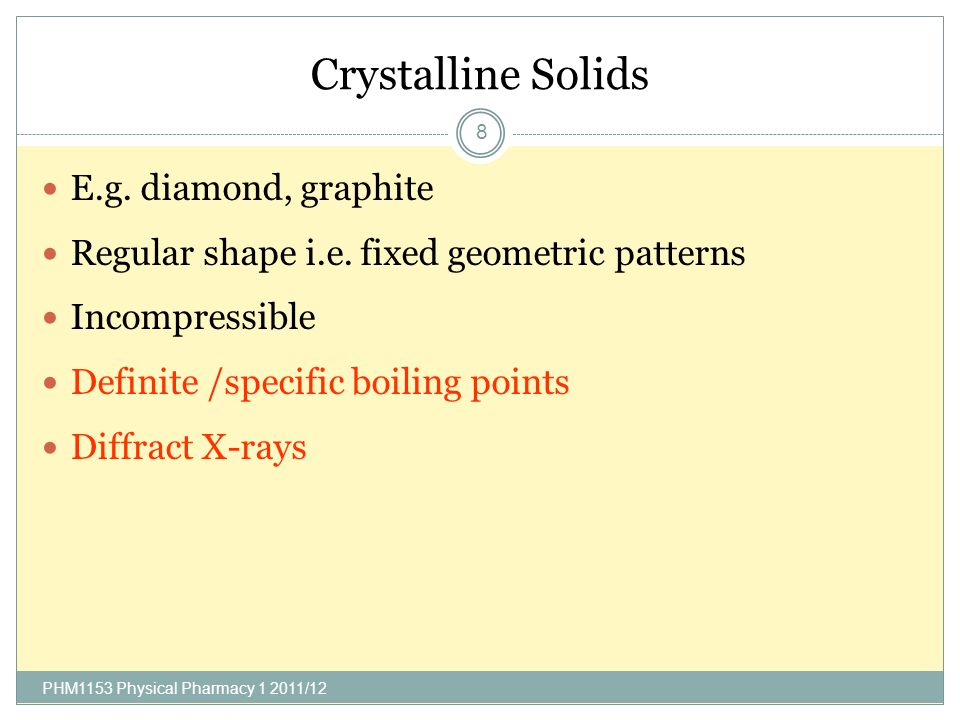 Crystal Structure Crystals contain highly ordered molecules or atoms held together by non- covalent interactions E.g.