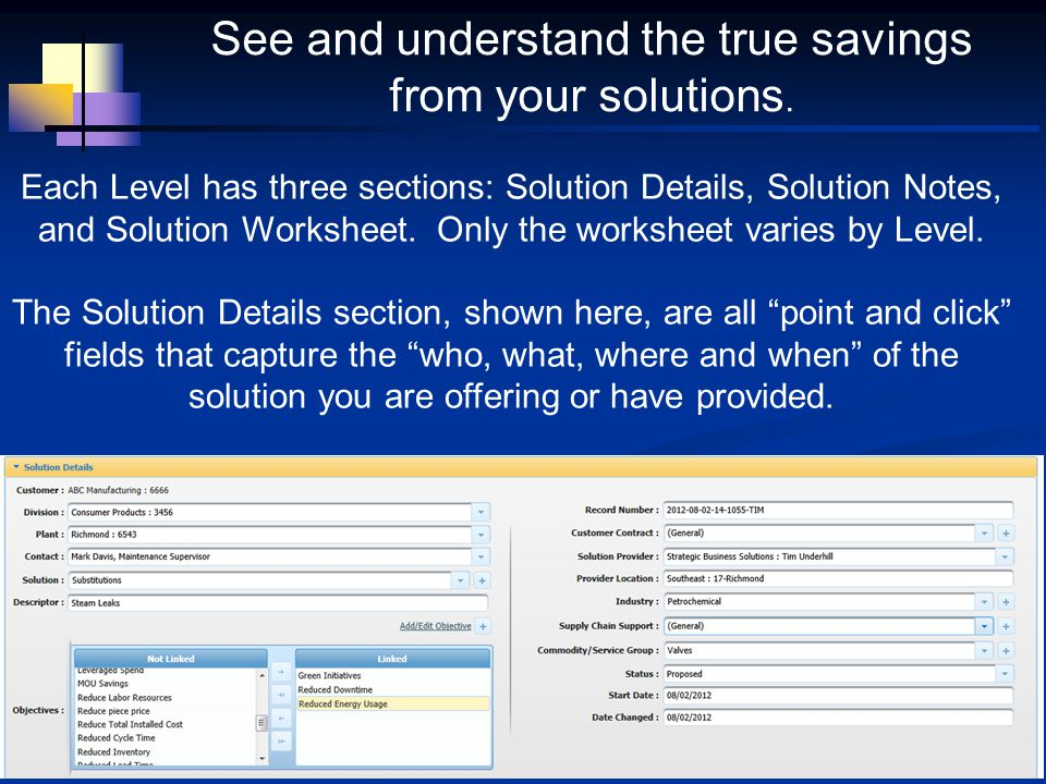 Each Level has three sections: Solution Details, Solution Notes, and Solution Worksheet. Only the worksheet varies by Level. The Solution Details sect