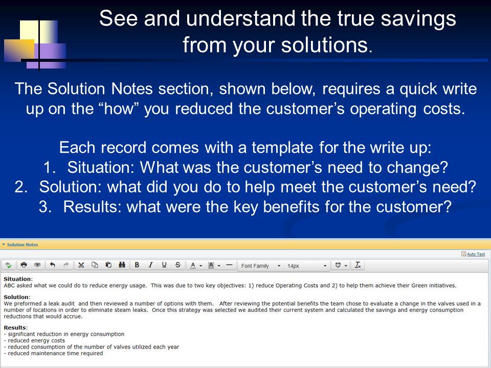 The Solution Notes section, shown below, requires a quick write up on the how you reduced the customers operating costs. Each record comes with a temp