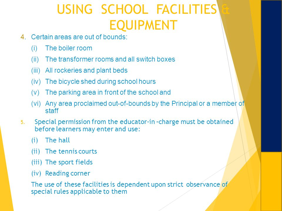 USING SCHOOL FACILITIES & EQUIPMENT 4.Certain areas are out of bounds: (i)The boiler room (ii)The transformer rooms and all switch boxes (iii)All rock