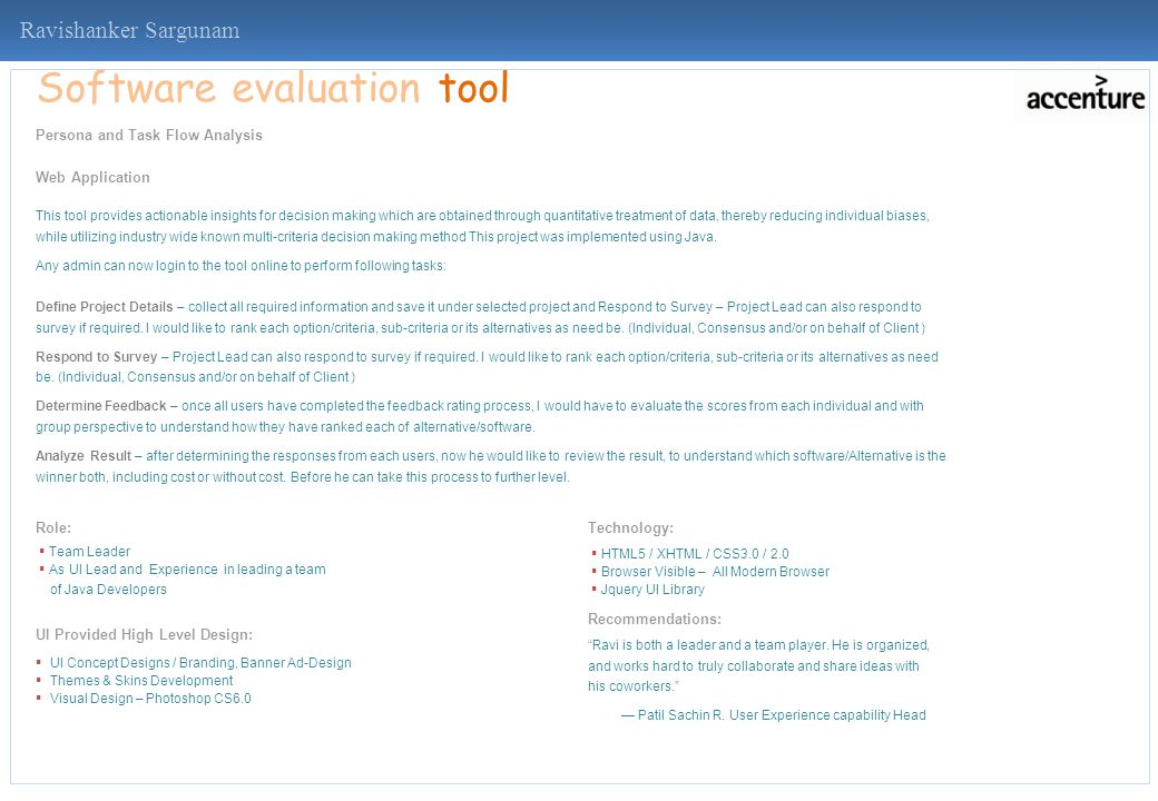 Ravishanker Sargunam Software evaluation tool