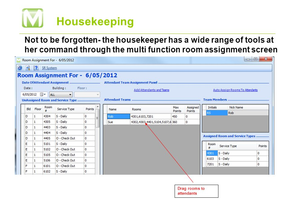Housekeeping Not to be forgotten- the housekeeper has a wide range of tools at her command through the multi function room assignment screen Drag rooms to attendants