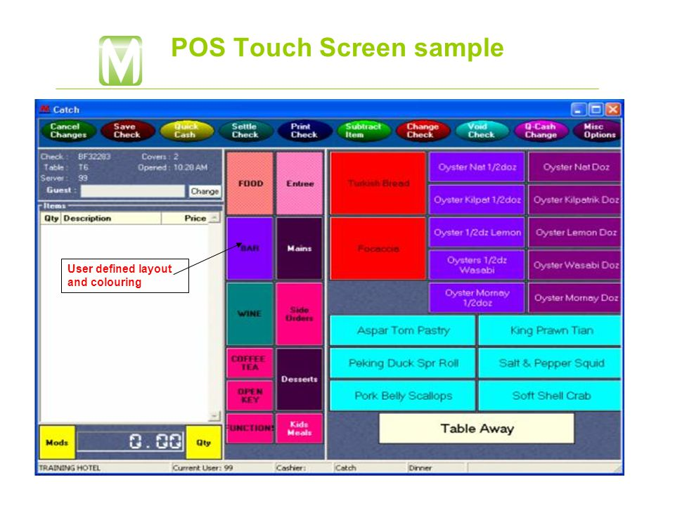 POS Touch Screen sample User defined layout and colouring