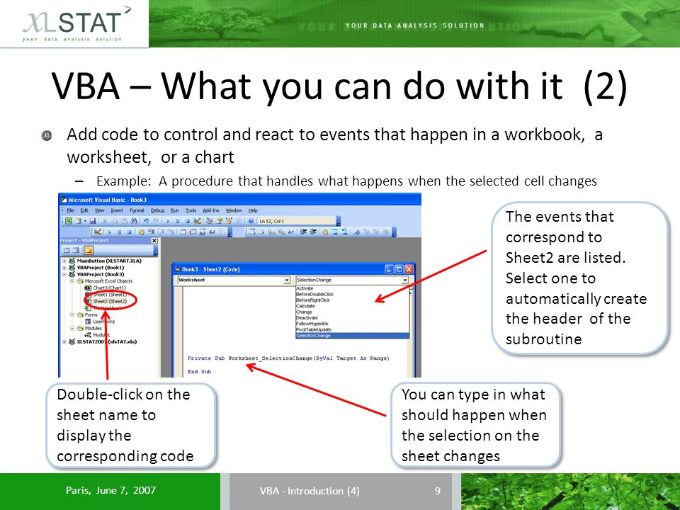 VBA – What you can do with it (2) VBA - Introduction (4) Add code to control and react to events that happen in a workbook, a worksheet, or a chart – Example: A procedure that handles what happens when the selected cell changes The events that correspond to Sheet2 are listed.