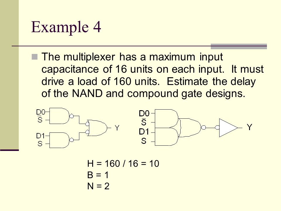 Example 4 The multiplexer has a maximum input capacitance of 16 units on each input.