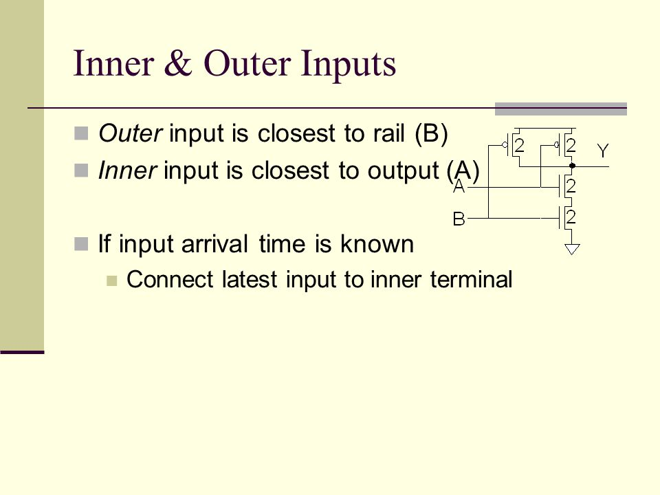 Inner & Outer Inputs Outer input is closest to rail (B) Inner input is closest to output (A) If input arrival time is known Connect latest input to inner terminal