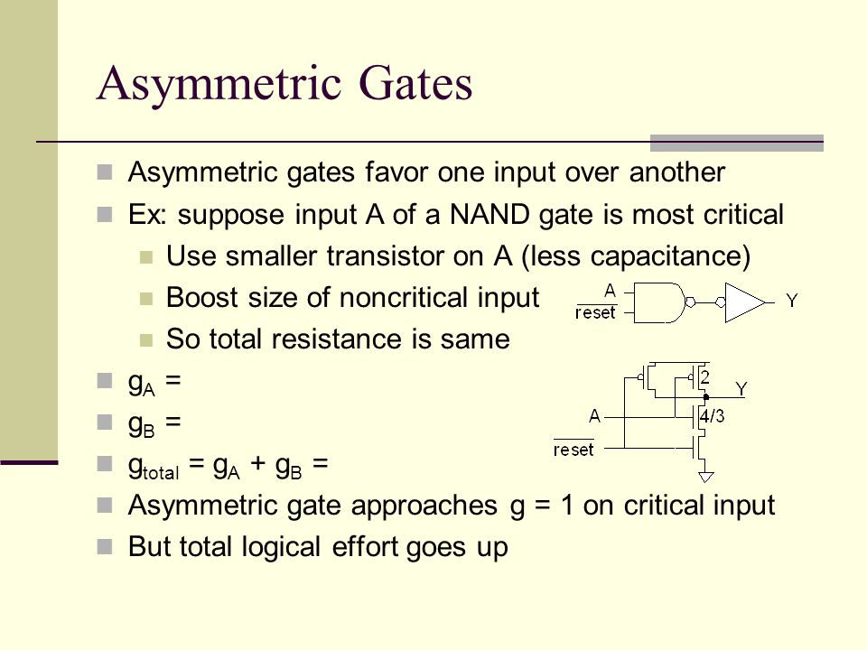 Asymmetric Gates Asymmetric gates favor one input over another Ex: suppose input A of a NAND gate is most critical Use smaller transistor on A (less capacitance) Boost size of noncritical input So total resistance is same g A = g B = g total = g A + g B = Asymmetric gate approaches g = 1 on critical input But total logical effort goes up