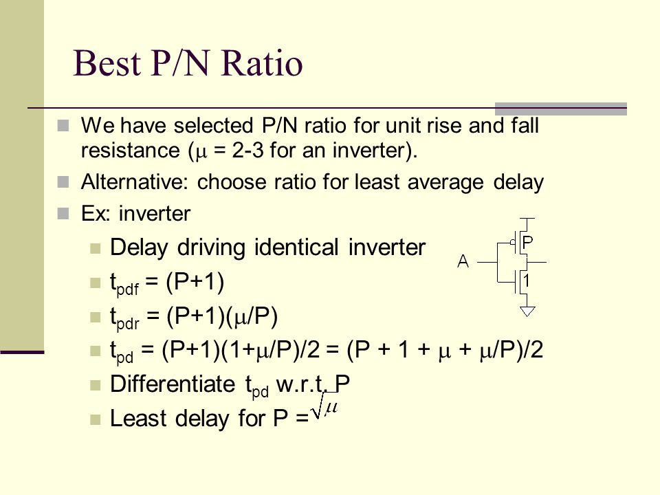Best P/N Ratio We have selected P/N ratio for unit rise and fall resistance ( = 2-3 for an inverter).