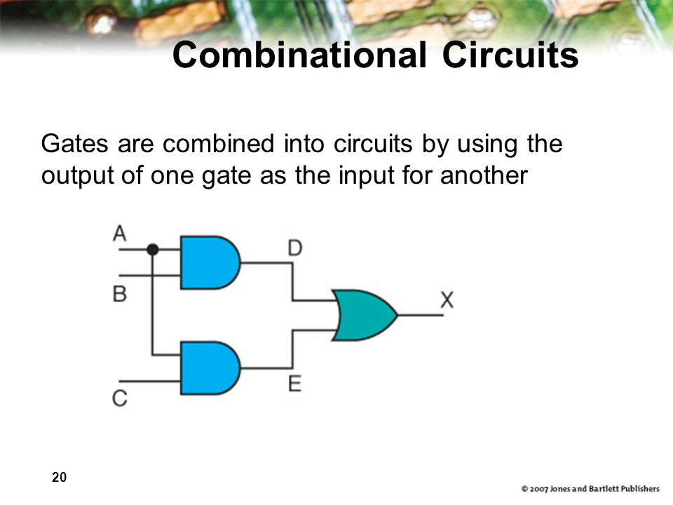 20 Combinational Circuits Gates are combined into circuits by using the output of one gate as the input for another