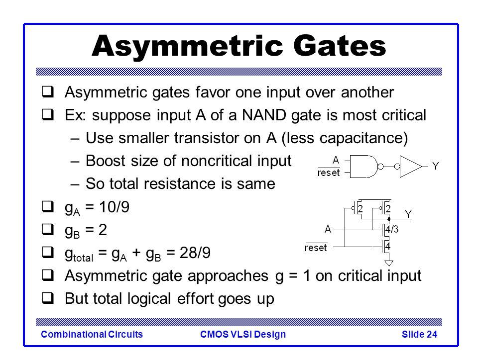 CMOS VLSI DesignCombinational CircuitsSlide 25 Symmetric Gates Inputs can be made perfectly symmetric
