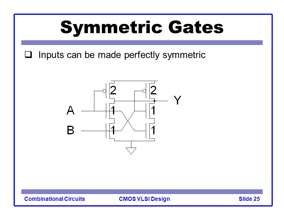 CMOS VLSI DesignCombinational CircuitsSlide 26 Skewed Gates Skewed gates favor one edge over another Ex: suppose rising output of inverter is most critical –Downsize noncritical nMOS transistor Calculate logical effort by comparing to unskewed inverter with same effective resistance on that edge.