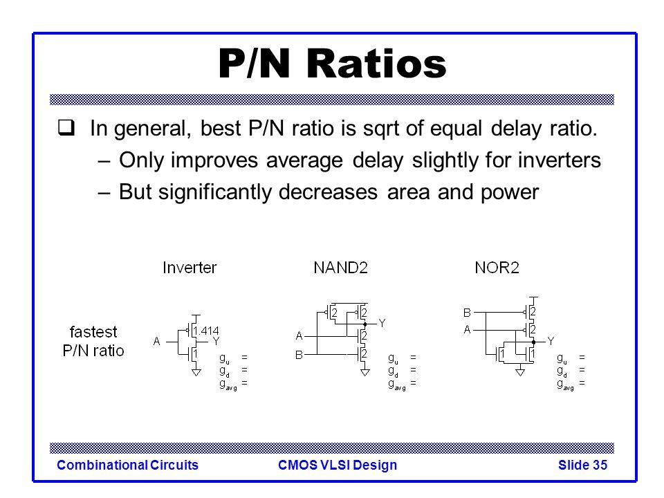 CMOS VLSI DesignCombinational CircuitsSlide 36 P/N Ratios In general, best P/N ratio is sqrt of that giving equal delay.