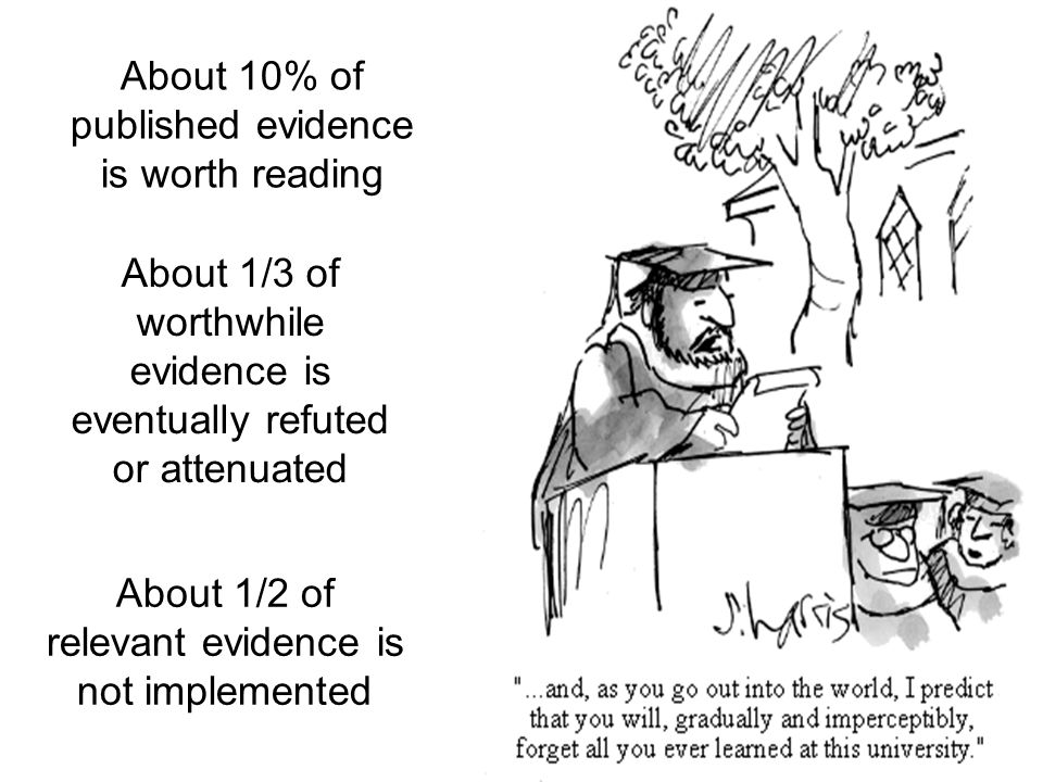 About 1/3 of worthwhile evidence is eventually refuted or attenuated About 10% of published evidence is worth reading About 1/2 of relevant evidence is not implemented