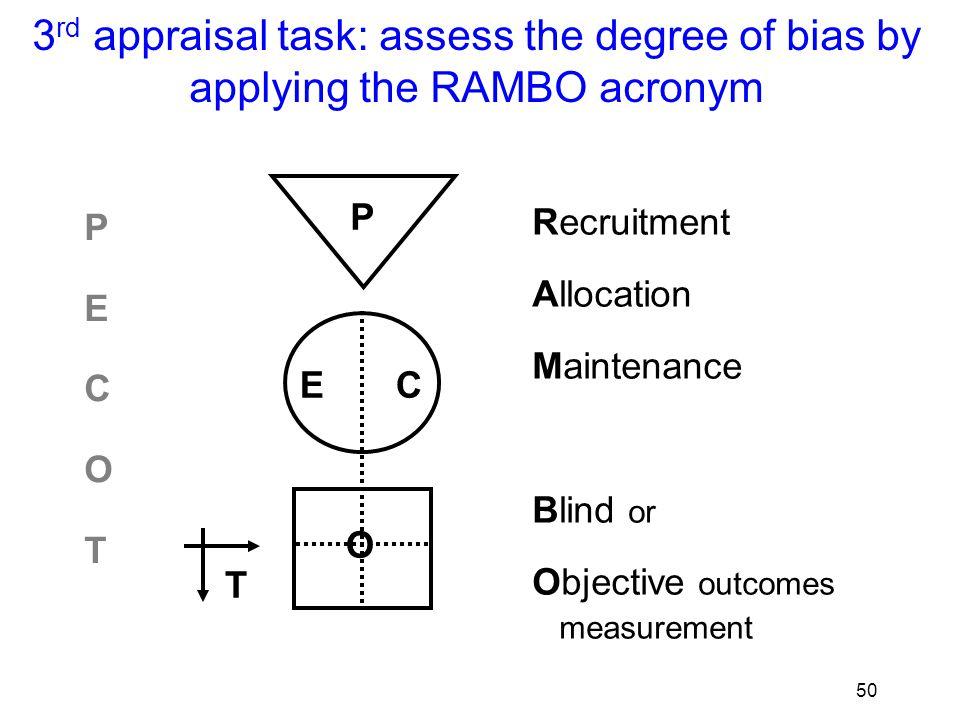51 R AMBO E C O T were Recruitment processes appropriate to study goals.