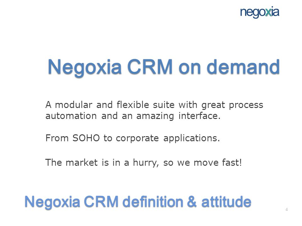 Negoxia CRM markets Example in the pharmaceutical market: Marketing & Sales: Contact history analisys to determine tactics Drugs home delivery Multichannel order entry Good in small and in large pharmacy networks Messaging automation Automatic real time customer segmentation Newsletters campaign management Sales administration Inventory management Billing Payment s options management x negoxia 15
