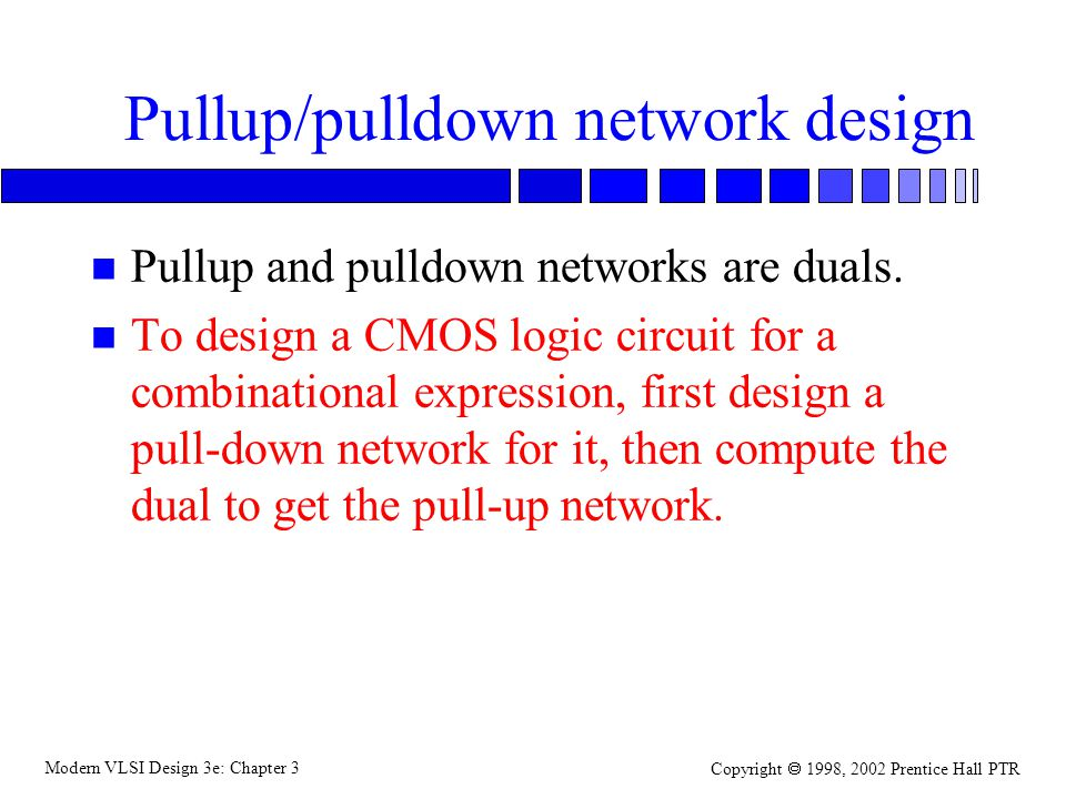 Modern VLSI Design 3e: Chapter 3 Copyright 1998, 2002 Prentice Hall PTR Pullup/pulldown network design n Pullup and pulldown networks are duals.