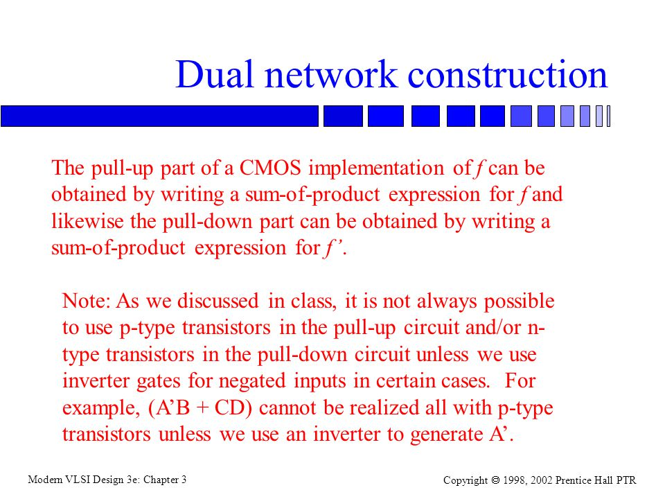 Modern VLSI Design 3e: Chapter 3 Copyright 1998, 2002 Prentice Hall PTR Dual network construction The pull-up part of a CMOS implementation of f can be obtained by writing a sum-of-product expression for f and likewise the pull-down part can be obtained by writing a sum-of-product expression for f.