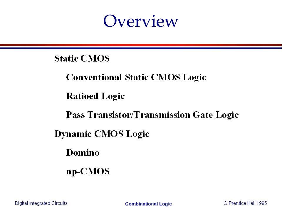 Digital Integrated Circuits© Prentice Hall 1995 Combinational Logic Combinational vs.