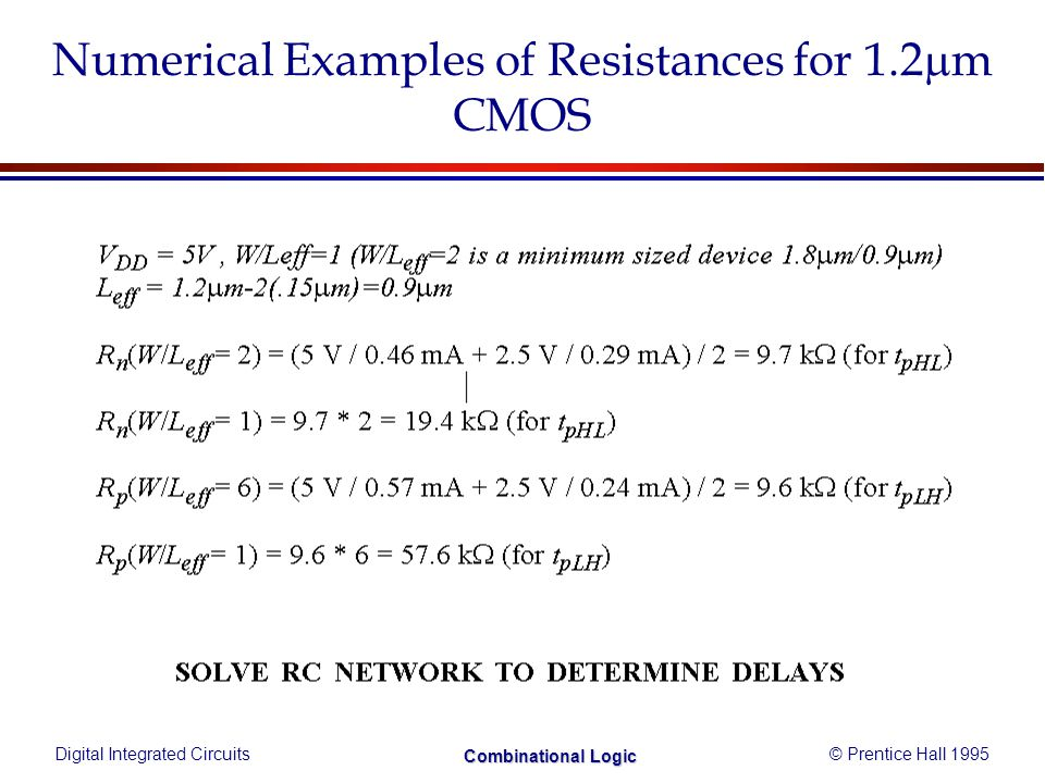 Digital Integrated Circuits© Prentice Hall 1995 Combinational Logic Numerical Examples of Resistances for 1.2 m CMOS