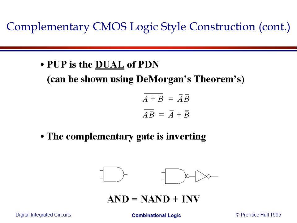 Digital Integrated Circuits© Prentice Hall 1995 Combinational Logic Fast Complex Gate - Design Techniques (2)